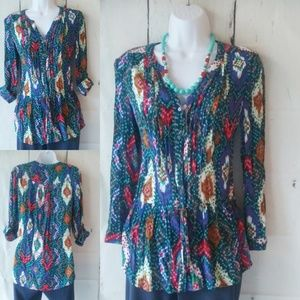 Anthropologie Maeve multicolor peasant top size 4